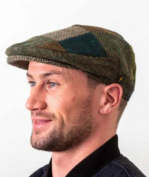 Donegal Tweed Green Patch Cap