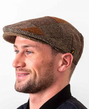 Donegal Tweed Brown Patch Cap