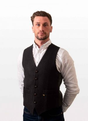 Donegal Tweed Black Waistcoat