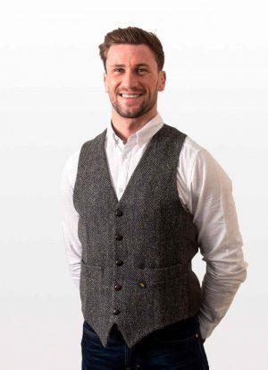 Donegal Tweed Charcoal Waistcoat