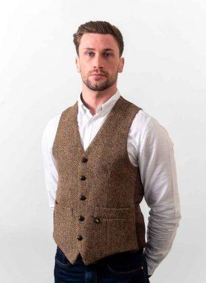 Donegal Tweed Brown Waistcoat