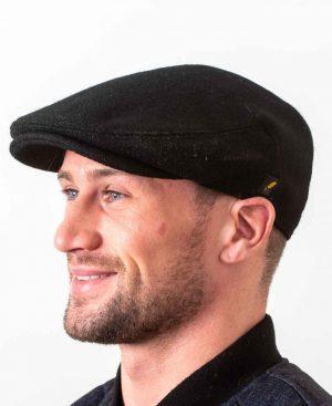 Hatman Dubliner Black Flat Cap