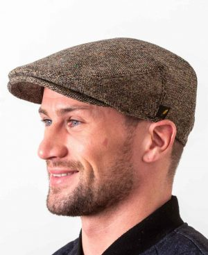 Dubliner Brown Salt & Pepper Flat Cap