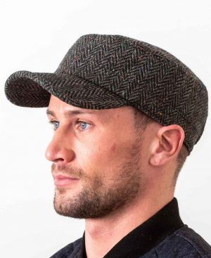 Donegal Tweed Charcoal Cadet Cap