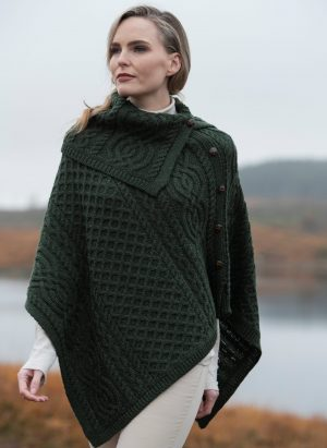 Aran Tipperary Cowl Neck Green Poncho