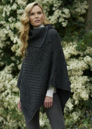 Aran Tipperary Cowl Neck Charcoal Poncho