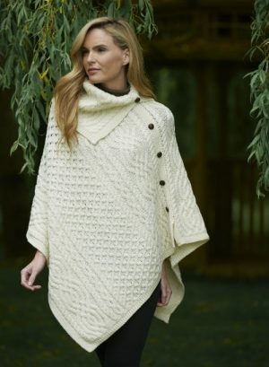 Aran Tipperary Cowl Neck Natural Poncho
