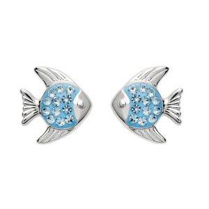 Blue Fish Earrings With Swarovski® Crystals