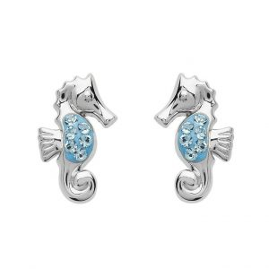 Seahorse Blue Earrings With White Swarovski® Crystals