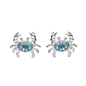 Crab Stud Earrings With Blue With Swarovski® Crystals