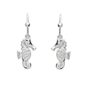 Drop Seahorse Earrings With White Swarovski® Crystals