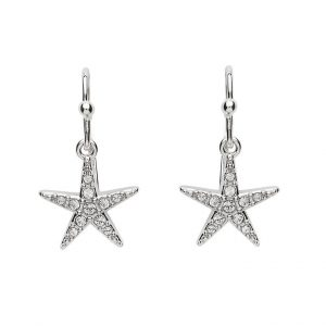Drop Star Fish Earrings With White Crystal Swarovski® Crystals