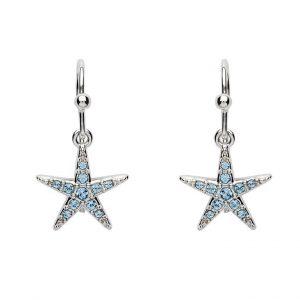 Drop Star Fish Earrings With Aqua Swarovski® Crystals