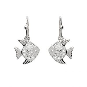 Fish Dangle Earrings With Swarovski® Crystals
