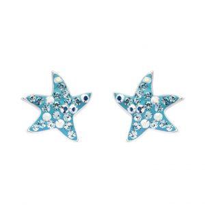 Dancing Starfish Stud Earrings With Aqua Swarovski® Crystals