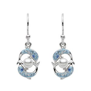 Drop Dolphins & Pearl Earrings With Aqua Swarovski® Crystals