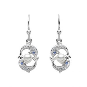 Drop Dolphins & Pearl Earrings With Clear Swarovski® Crystals