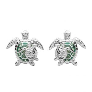 Green Mother & Baby Turtle Earrings With Swarovski® Crystals