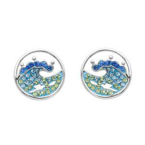 Blue Wave Stud Earrings With Aqua Swarovski® Crystals