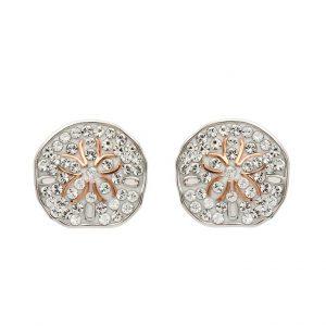 Rose Gold Sand Dollar Earrings With Aqua Swarovski® Crystals