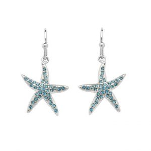 Starfish Drop Earrings Adorned With Aqua Swarovski® Crystals