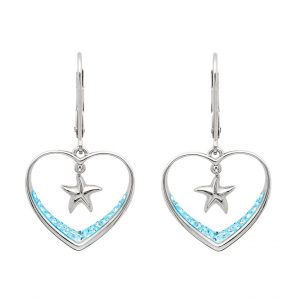 Aqua Starfish Earrings With Aqua Swarovski® Crystals