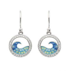 Blue Wave Drop Earrings With Aqua Swarovski® Crystals