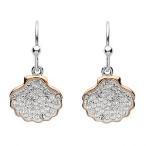 Shell Drop Earrings Encrusted With White Swarovski® Crystal