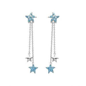 Starfish Drop Earrings With Aqua Swarovski® Crystals