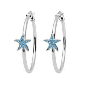 Starfish Hoop Earrings With Aqua Swarovski® Crystals