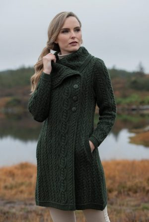 Aran Crafts Chunky Collar Green Coat