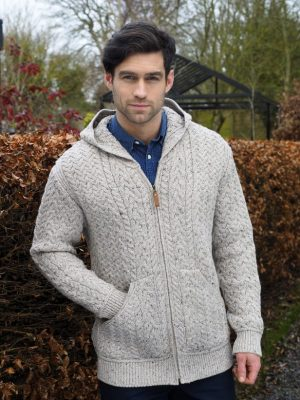 Aran Crafts Men's Hooded Oatmeal Cardgian