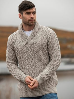 Aran Crafts Bunratty Oatmeal Collar Sweater