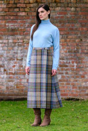 Mucros Tweed Check Skirt