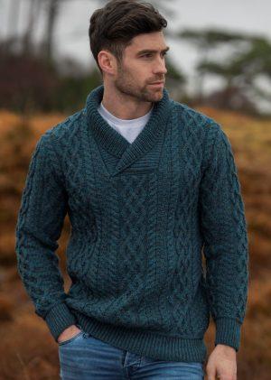 Aran Crafts Teal Collar Sweater