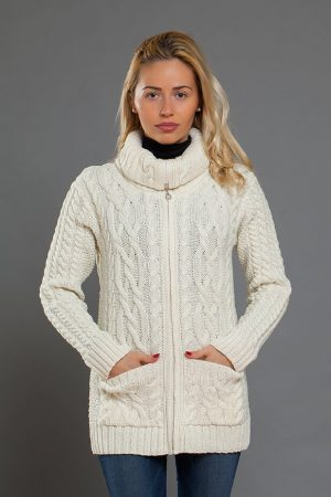 Aran Claddagh Zip Cardigan