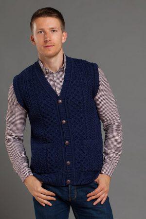 Men's Aran Buttoned Blue Gilet