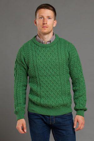 Aran Green Merino Wool Crew Neck Sweater