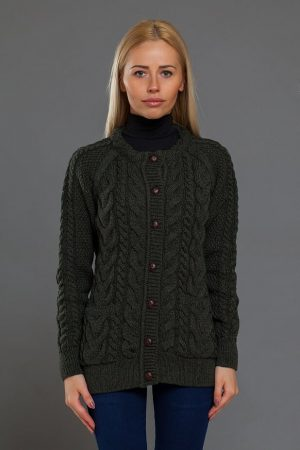 Aran Cable Knit Army Green Cardigan