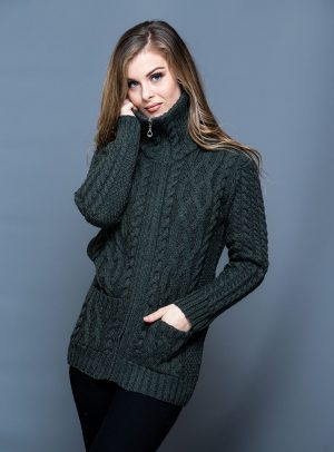Aran Women's High Collar Full Zip Green Cardigan