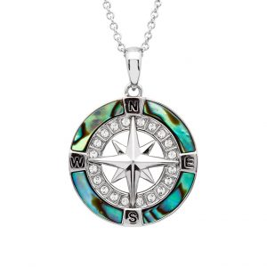 Abalone Compass Necklace With Aqua Swarovski® Crystal