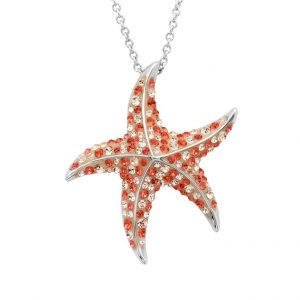 Red Starfish Pendant With Aqua Swarovski® Crystals