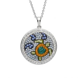 Circle Turtle Pendant With Aqua Swarovski® Crystals