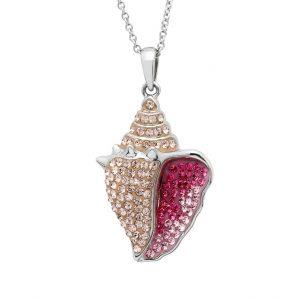 Pink Conch Necklace With Aqua Swarovski® Crystals