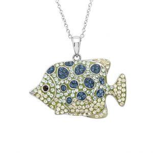 Blue Fish Necklace With Aqua Swarovski® Crystals