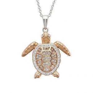 Rose Gold Turtle Necklace Swarovski® Crystals