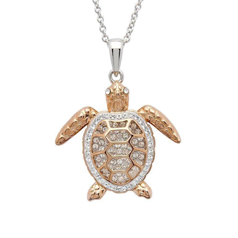Rose Gold Turtle Necklace Swarovski Crystals Skellig Gift Store