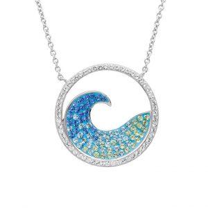 Blue Wave Pendant With Aqua Swarovski® Crystals