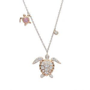 Rose Gold Turtle Pendant With Aqua Swarovski® Crystals