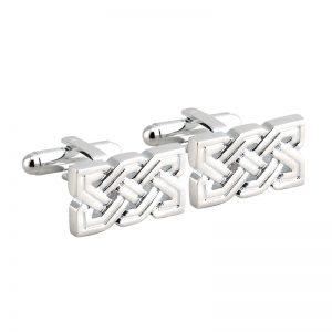 Rhodium Plated Celtic Knot Cufflink